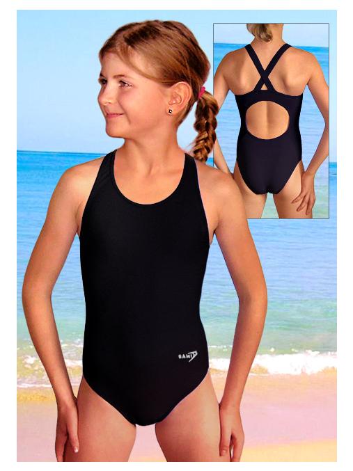 Dívčí sportovní plavky jednodílné PD533 černá