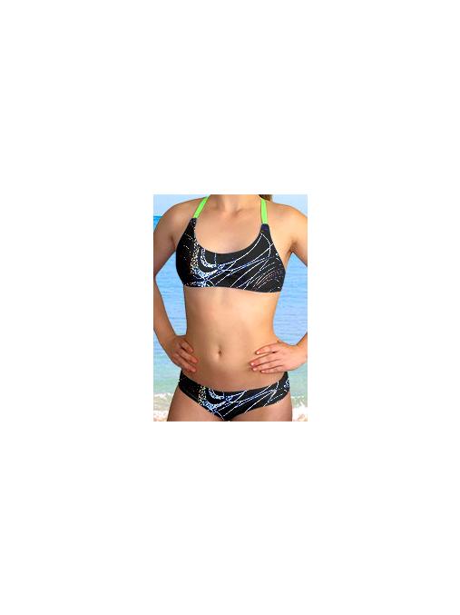 Dívčí plavky dvoudílné PD539v459 s reflexní zelenou