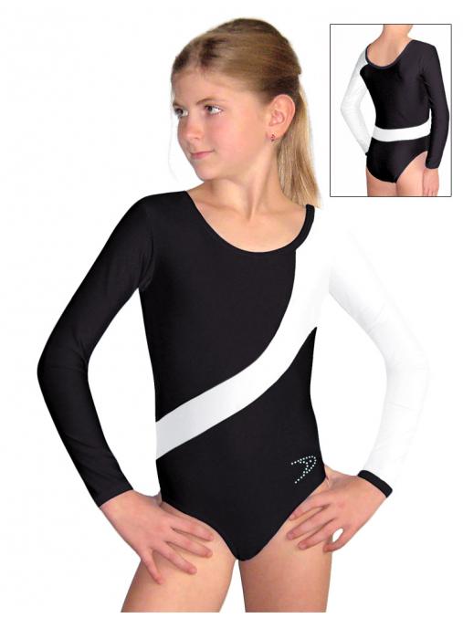Gymnastický dres B37d-10 černo-bílá