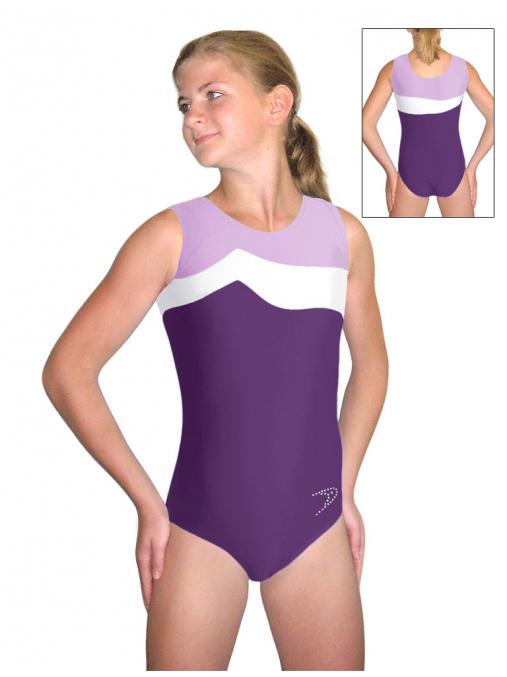 Gymnastický dres B37r-36 fialovo-bílá