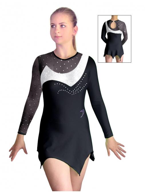 Dres na moderní gymnastiku - trikot M912 černo-bílá
