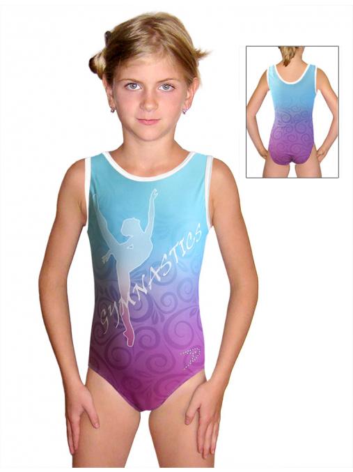 Gymnastický dres závodní D37r-58_t203 fialovo-tyrkysová
