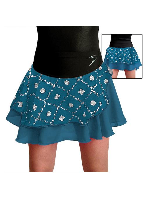 Taneční sukně K806b tyrkysovo černá