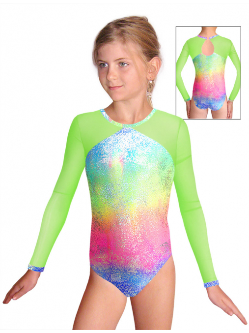 Gymnastický dres závodní D37d-5 v454 s reflexní zelenou