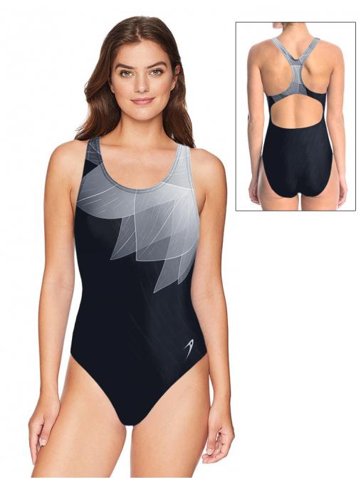 Dámské sportovní plavky jednodílné P623 t137 černošedá