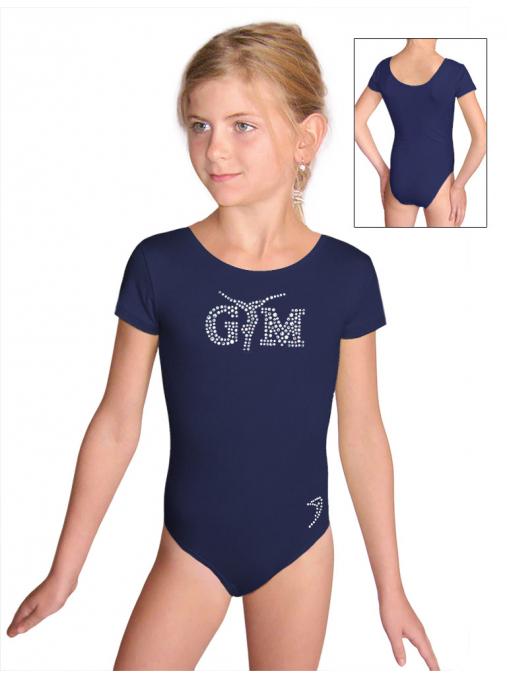 Gymnastický dres B37kkg f77 tmavě modrá elastická bavlna