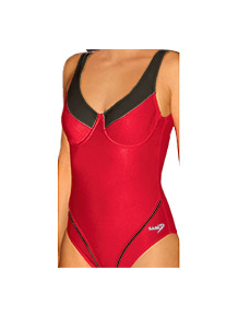 Dámské plavky jednodílné s kosticemi P11x červená s černou