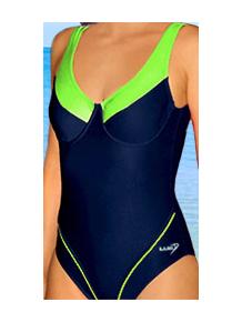 Dámské plavky jednodílné s kosticemi P11x tmavě modrá s reflexní zelenou