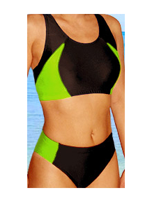Dámské sportovní plavky dvoudílné P15 černá s reflexní zelenou