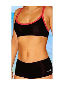 Dámské sportovní plavky dvoudílné s nohavičkou P18 černá s červenou