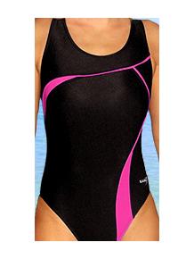 Dámské plavky jednodílné P247 černá s reflexní růžovou