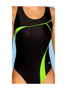 Dámské plavky jednodílné P247 černá s reflexní zelenou