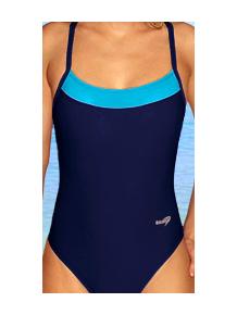 Dámské sportovní plavky jednodílné P251 tmavě modrá s tyrkysovou