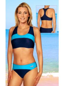 Dámské sportovní plavky dvoudílné P276 tmavě modrá s tyrkysovou