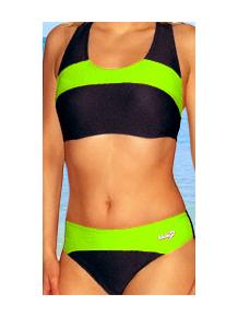 Dámské sportovní plavky dvoudílné P276 černá s reflexní zelenou