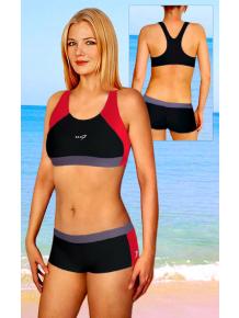 Dámské sportovní plavky dvoudílné s nohavičkou P279 černo-červená
