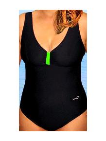 Dámské plavky jednodílné pro plnoštíhlé P602 černá s reflexní zelenou