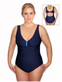 Dámské plavky jednodílné pro plnoštíhlé P602 tmavě modrá s tyrkysovou