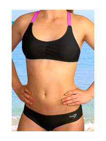 Dámské sportovní plavky dvoudílné P539 černá s reflexní růžovou