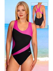 Dámské sportovní plavky jednodílné P611 černá s reflexní růžovou