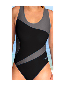 Dámské sportovní plavky jednodílné P611 černá s šedou