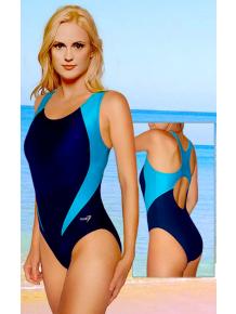 Dámské sportovní plavky jednodílné P7 tmavě modrá s tyrkysovou