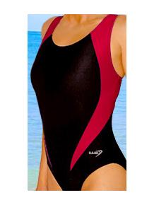 Dámské sportovní plavky jednodílné P7 černá s červenou