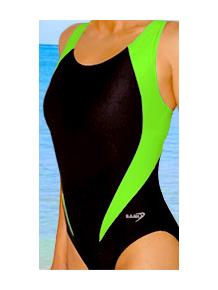 Dámské sportovní plavky jednodílné P7 černá s reflexní zelenou