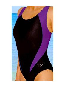 Dámské sportovní plavky jednodílné P7 černá s fialovou