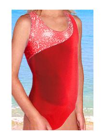 Dívčí sportovní plavky jednodílné PD213sl červená