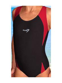 Dívčí sportovní plavky jednodílné PD516 černá s červenou