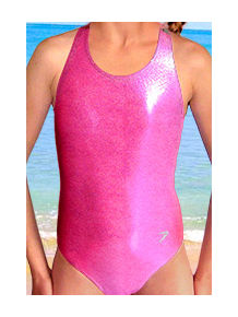 Dívčí sportovní plavky jednodílné PD545sl reflexní růžová