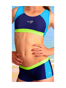 Dívčí sportovní plavky dvoudílné s nohavičkou PD279 modro-tyrkysovo-zelená