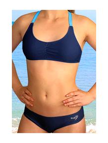 Dívčí plavky dvoudílné PD539 tmavě modrá s tyrkysovou