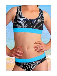 Dívčí sportovní plavky dvoudílné PD541v459 s tyrkysovou