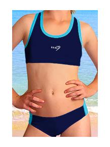 Dívčí sportovní plavky dvoudílné PD543 tmavě modrá s tyrkysovou