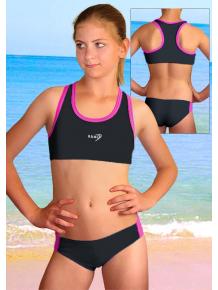 Dívčí sportovní plavky dvoudílné PD543 černá s reflexní růžovou