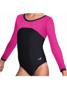 Gymnastický dres B37d-1 černo-růžová