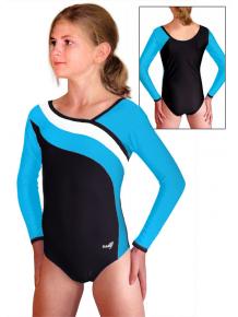 Gymnastický dres B37d-16 černo-tyrkysová
