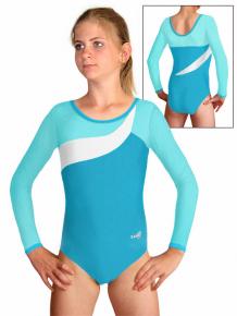 Gymnastický dres B37d-18 tyrkysovo-bílá