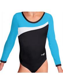 Gymnastický dres B37d-3 černo-tyrkysová