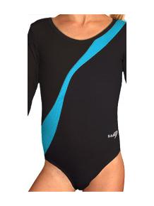 Gymnastický dres B37d-4b černo-tyrkysová