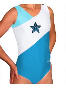 Gymnastický dres B37r-35_n tyrkysovo-bílá