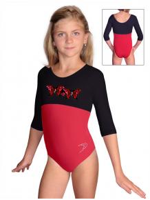 Gymnastický dres B37tr-dv_n3 červeno-černá
