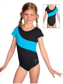 Gymnastický dres S37kk-dv černo-tyrkysová