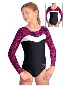 Gymnastický dres S37d-24 černo-růžovo-bílá