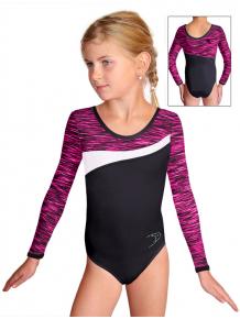 Gymnastický dres S37d-3 černo-růžovo-bílá