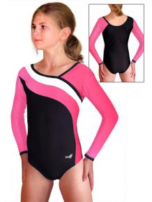 Gymnastický dres S37d-16 černo-reflexní růžovo-bílá