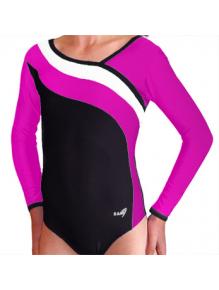 Gymnastický dres S37d-16 černo-tmavě růžovo-bílá