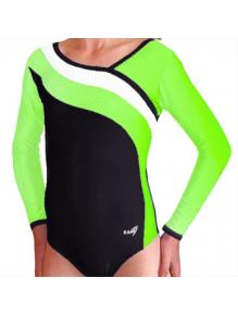 Gymnastický dres S37d-16 černo-reflexní zeleno-bílá